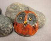 Sunset Red Owl...Raku Pendant