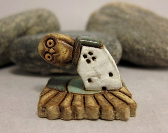 RESERVED for Em RESERVED MyLand - Sideward Glued Owl...good for you hips - Collectible 3x3 cm or 1.2x1.2 in. puzzle in stoneware