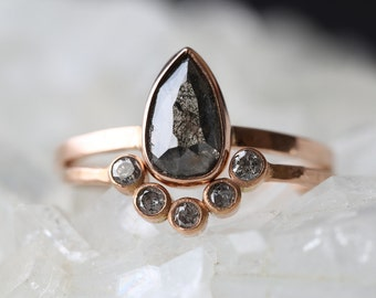 Natural Black Rose Cut Diamond Ring