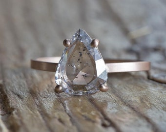 One of a Kind Natural Clear Salt + Pepper Diamond Ring
