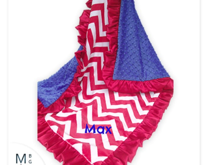 Red Chevron and Blue Minky Baby Blanket - for boy or girlCan Be Personalized