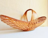 Dramatic Farmhouse Style Long Woven Basket Bowl Natural Great Condition