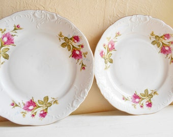 Set of 4 Vintage Rose Embossed Full Size Dinner Plates with Gold Trim Dishes