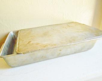 Large Vintage Metal Freezer Refrigerator Storage Box Cake Carrier Baking Pan with Lid Silver
