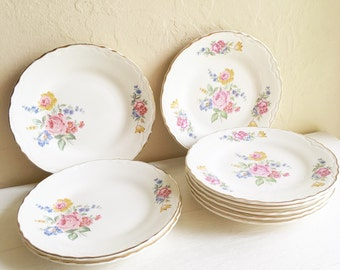 Matching Vintage Floral Dishes Plates Beautiful Cottage Style 9
