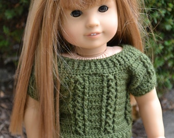 18 inch Doll Clothes - Crocheted Cable Sweater - Olive Green - MADE TO ORDER - fits American Girl