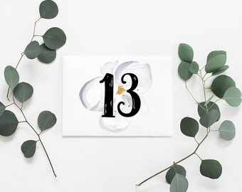 Wedding Table Numbers - Table Number Signs - Table Number Cards - Rustic Wedding Table - Wedding Decor- Floral Number Sign - Wedding Numbers