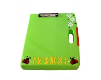 Personalized Clipboard Storage Case - Ladybugs / Flowers