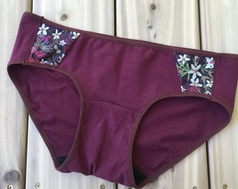 Organic cotton hipster brief, handmade lingerie, gift for her, wine red and floral satin underwear