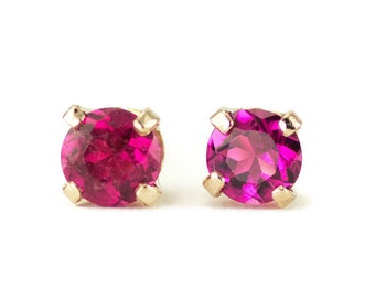 14k Gold Tourmaline Studs - 4mm Rubellite Tourmaline Posts - October Birthstone Gold Post Earrings