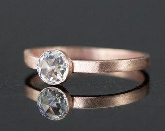 Rose Gold Engagement Ring - Rose Cut Moissanite - 14k Yellow or Rose Gold