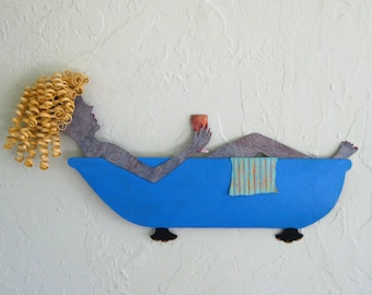 Metal Wall Art Lady in Bathtub Sculpture Blonde Blue Recycled Metal Wall Bathroom Decor Wine Whimsical Art 8 x 15