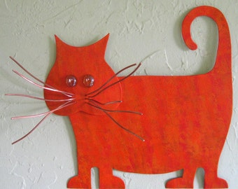 Metal Wall Art Cat Sculpture Recycled Metal Kitty Wall Decor Orange Fat tabby Cat Indoor Outdoor Wall Art Cat Lover 13 x 13