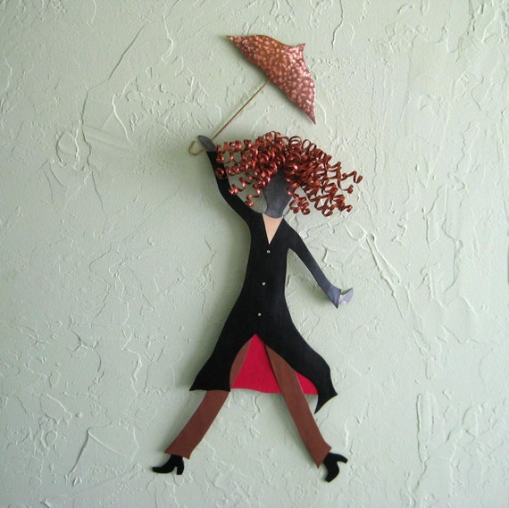 Metal Wall Art Umbrella Lady Sculpture Red Head Fashion Black Red Recycled Metal Wall Art chic Indoor Outdoor 9 x 24