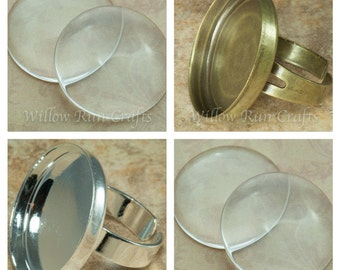 20 pcs 25mm Circle Ring Trays with 20 Glass Cabochons, Adjustable Ring Blanks, Pick from Bronze and Silver