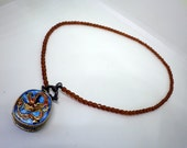 Enamel Dragon Locket Necklace - Brown Crystal - Secret Compartment - Toggle Closure.