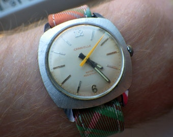 1970s Midsize Caravelle Watch - Pillow Shaped - Preppy Band - Brooks Brothers