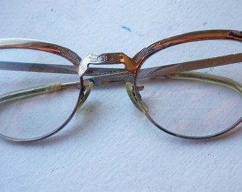 Vintage - Cat Eye/Rhinestone Glasses - White Gold Filled