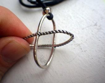 Unusual 3D Hoop Necklace - Sterling Silver - Modern Look - Cross
