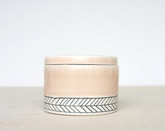 Ceramic Herringbone Salt Cellar in Peach- Made to Order