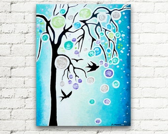 Flying Birds Painting, Blue Tree Painting, Original Acrylic Painting, Birds Flock Canvas Art, Birds In The Sky 11x14