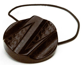 Statement Piece Accessories, Dark Brown Decorative Ponytail Holder, Chunky Antique Bakelite Button, Cool Hair Accessory, Elastic Hair Ties