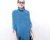 Vintage Light BLUE Periwinkle Handmade KNIT Crochet PONCHO Sweater with Fringe Grandma Shawl Handmade Knit Poncho