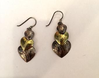 Vintage earrings sterling silver earrings dangle earrings heart earrings gold heart earrings silver heart earring 3 hearts retro earrings