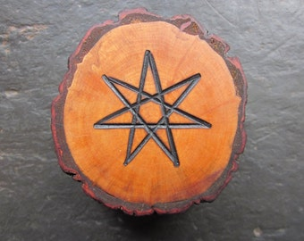 Natural Wood Double-Sided Talisman - Alder - Faery Star/Pentacle for Altar or Home.