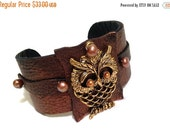 40% OFF SALE Owl leather bracelet with pearls Leather Jewelry Cuffs  Wrist Bands for Women