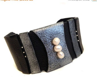 40% OFF Pearls leather bracelet Cuff Wristband Women's leather bracelet Leather jewelry