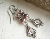 Art Deco Earrings. Antiqued Silver Mirror Earrings. Vintage Rhinestones & Ashes of Roses Pearls. Shabby, French, Romantic Drop Earrings.