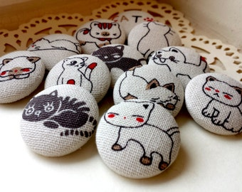 LIMITED SETS - Japanese Cat Fabric Buttons - Large Fabric Buttons - Covered Buttons - Kitty Fabric-Covered Buttons - Black White and Red