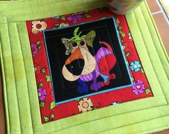 Patchwork Pup - brightly colored dog - Mug Rug or Candle Mat  Oversized Coaster
