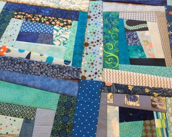 Crazy Quilt Block - 11 inch square - Shades of blue