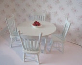 Dollhouse table pale blue, country table,  white table, round table, kitchen set, four kitchen chairs, round table, country, twelfth scale,