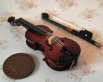 Dollhouse Violin, Gypsy violin,  Medieval violin,  twelfth scale dollhouse miniature