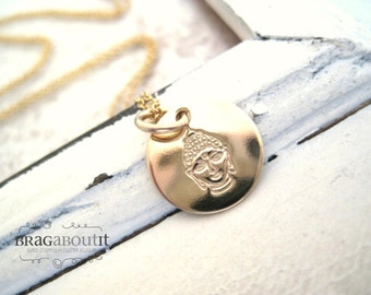 Buddha Necklace . Buddha Jewelry . Hand Stamped Jewelry . 14K Gold Filled Jewelry