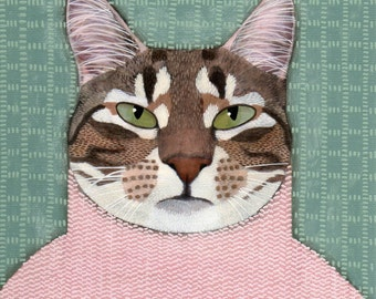 Cleo in pink, original cat portrait, free shipping