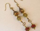 Vintage Look Handmade Swarovski Earrings With Fall Colors