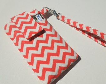 WRISTLET case for cellphone,samsung galaxy,iphone 6/5/5s/5c/4s,Droid,Moto x/G,Htc 1,nokia,ipod touch/smart phone sleeve case-Orange chevron