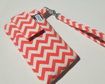 sale - WRISTLET cell phone case purse, travel case bag for cell phone, smart phone - Orange ivory chevron