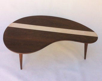 Mid Century Modern Coffee Cocktail Table   Solid Walnut With Maple Inlay   Kidney Bean Shaped