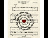Beautiful Boy Song Lyric Sheet Music Art Print , John Lennon Music Art, Nursery Art, New Baby Boy Art, Boys Room Art, Spiral Song Lyric Art