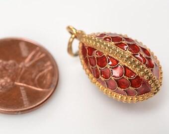 Vintage 14kt Gold, and Silver Vermeil cloisonne enamel egg charm