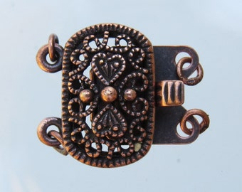 20x16mm Antique Copper on Solid Brass Metal 2 Strand Box Clasp (FS25)