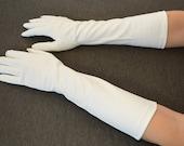 sale Vintage WHITE Faux Snakeskin Women's Formal Long Near Elbow-length GLOVES Hansen Size 7