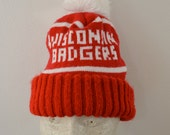 Vintage WISCONSIN BADGERS Winter Hat with POM 1970's