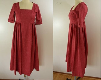 Vintage Red LITTLE HOUSE on the Prairie Dress Girls Teens Extra Small Cute Costume
