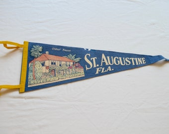 on sale Vintage ST. AUGUSTINE Florida felt pennant souvenir Oldest House